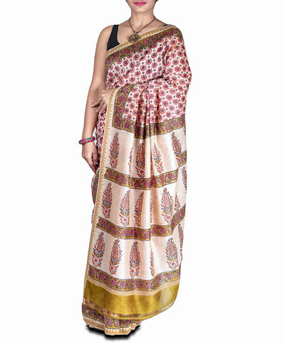Multicolor handblock printed chanderi cotton silk saree