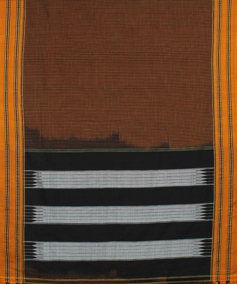 Brown Checks Handloom Ilkal Saree