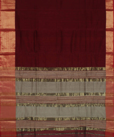 Maroon Handloom Maheshwari Cotton Silk Saree