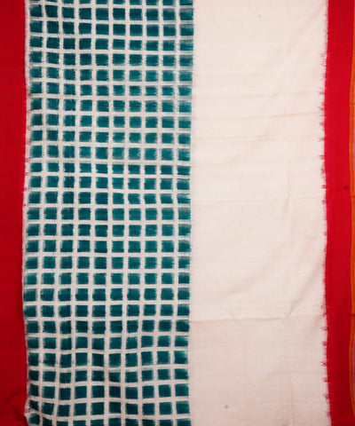 White Teal Handloom Ikkat Cotton Saree