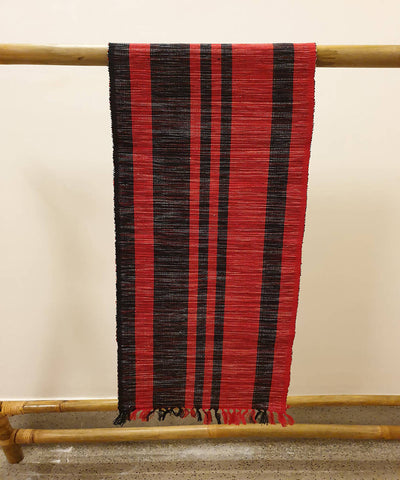 Maroon black striped handloom cotton table runner