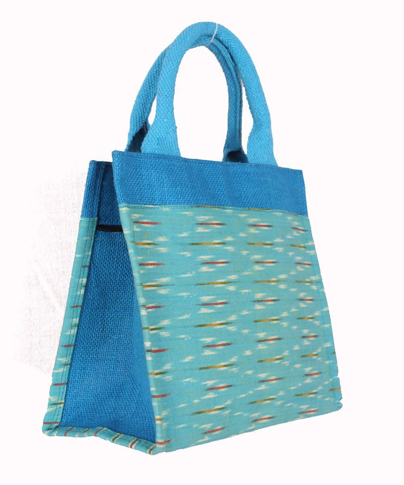 Handcrafted Jute Bag In Blue Ikat Fabric