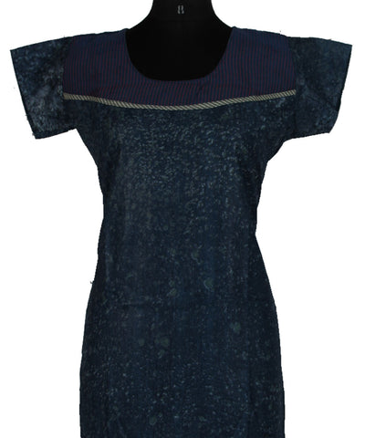 Khadi Nation Handwoven Blue Kurti (KHADI-KK-219)