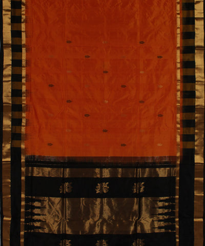 Khadi Nation Orange and Black Handwoven Silk Saree (KHADI-SS-247)