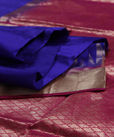 Khadi Nation Royal Blue Handwoven Silk Saree (KHADI-SS-256)