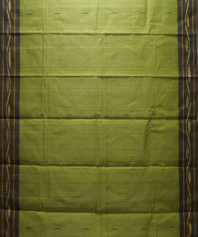 Loomworld Handwoven Green and Brown Kanchi Cotton Saree