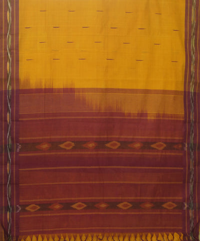Handloom Yellow Maroon Kanchi Cotton Saree