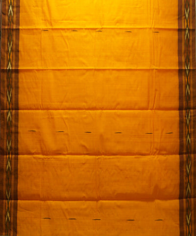 Loomworld Handwoven Yellow Kanchi Cotton Saree