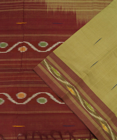 Loomworld Handwoven Mustard and Red Kanchi Cotton Saree
