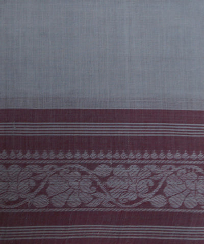Loomworld Handwoven Grey And Red Kanchi Cotton Saree