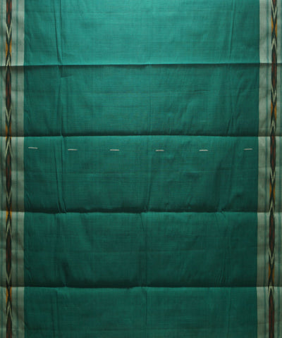 Loomworld Handwoven Green and White Kanchi Cotton Saree