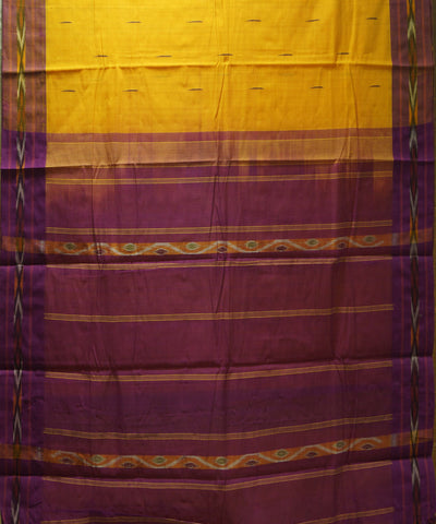 Loomworld Handwoven Yellow and Violet Kanchi Cotton Saree