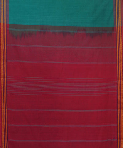Handloom Turquoise Green Kanchi Cotton Saree