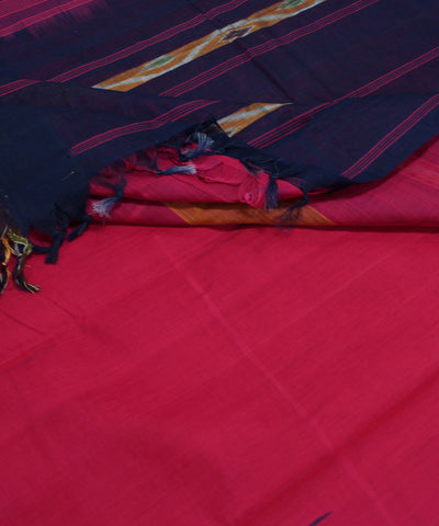 Loomworld Handwoven Pink And Blue Kanchi Cotton Saree