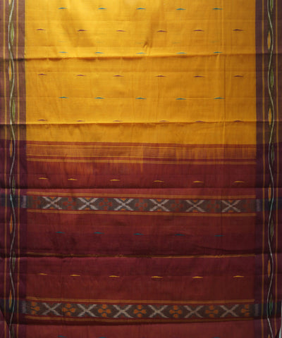 Loomworld Handwoven Yellow And Red Kanchi Cotton Saree