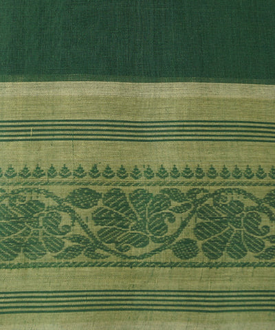 Handloom Dark Green Kanchi Cotton Saree