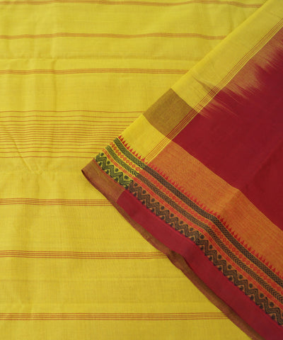 Handloom Maroon Yellow Kanchi Cotton Saree