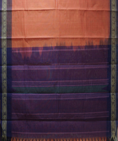 Loomworld Handwoven Peach And Violet Kanchi Cotton Saree