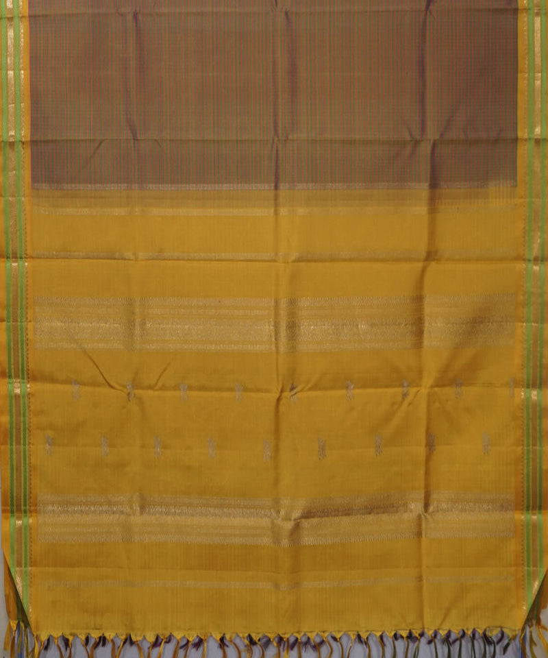 Kanchi Handloom Green Peach Checks Silk Saree