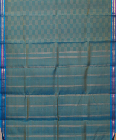 Kanchi Handloom Blue Checkered Silk Saree