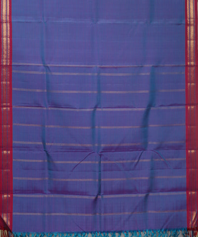 Kanchi Handwoven Lavender Striped Silk Saree