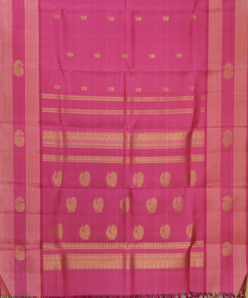 Kanchi Handwoven Peach Pink Silk Saree