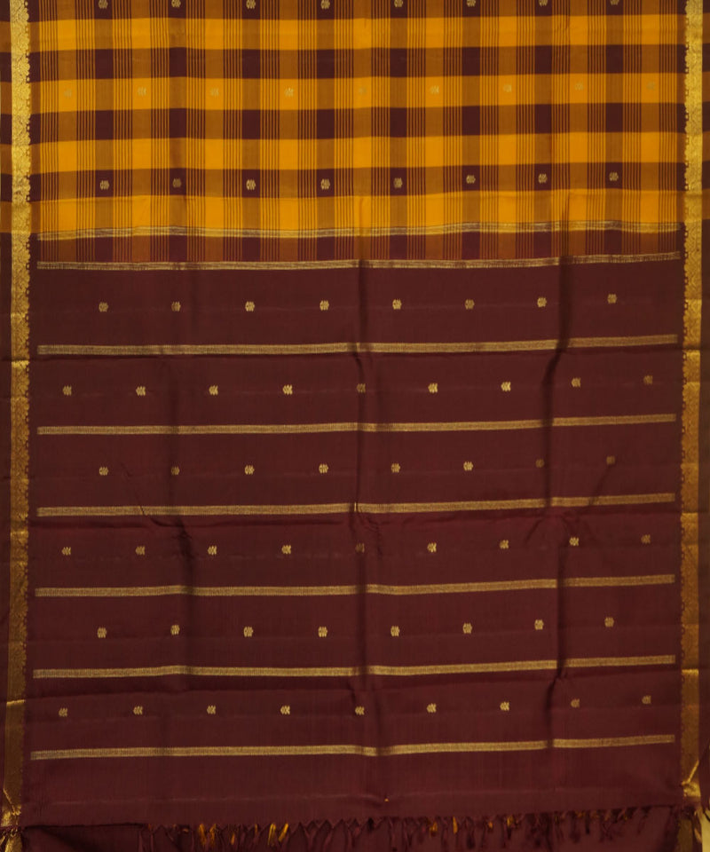 Kanchi Handloom Yellow Brown Check Silk Saree