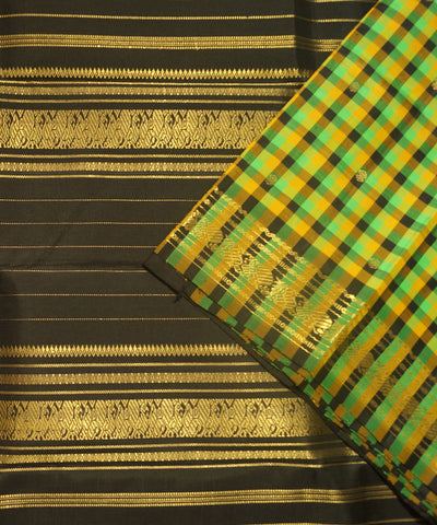 Kanchi Handloom Green Black Checks Silk Saree