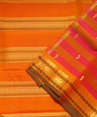 Kanchi Handloom Pink Orange Stripe Silk Saree