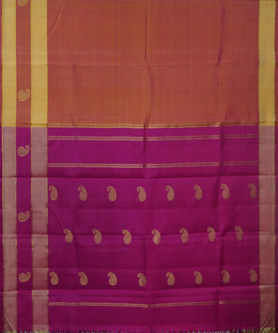 Kanchi Handwoven Peach Purple Silk Saree