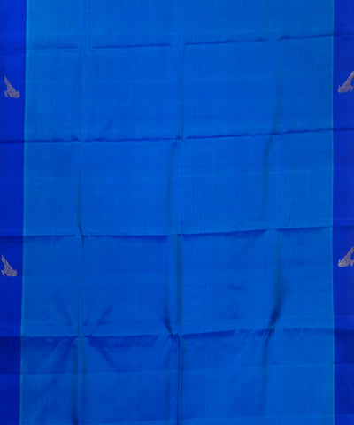 Kanchi Handwoven Sky and Navy Blue Silk Saree
