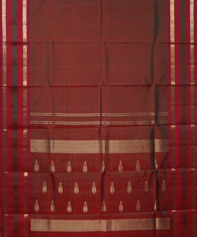 Kanchi Handwoven Red and Brown Silk Saree