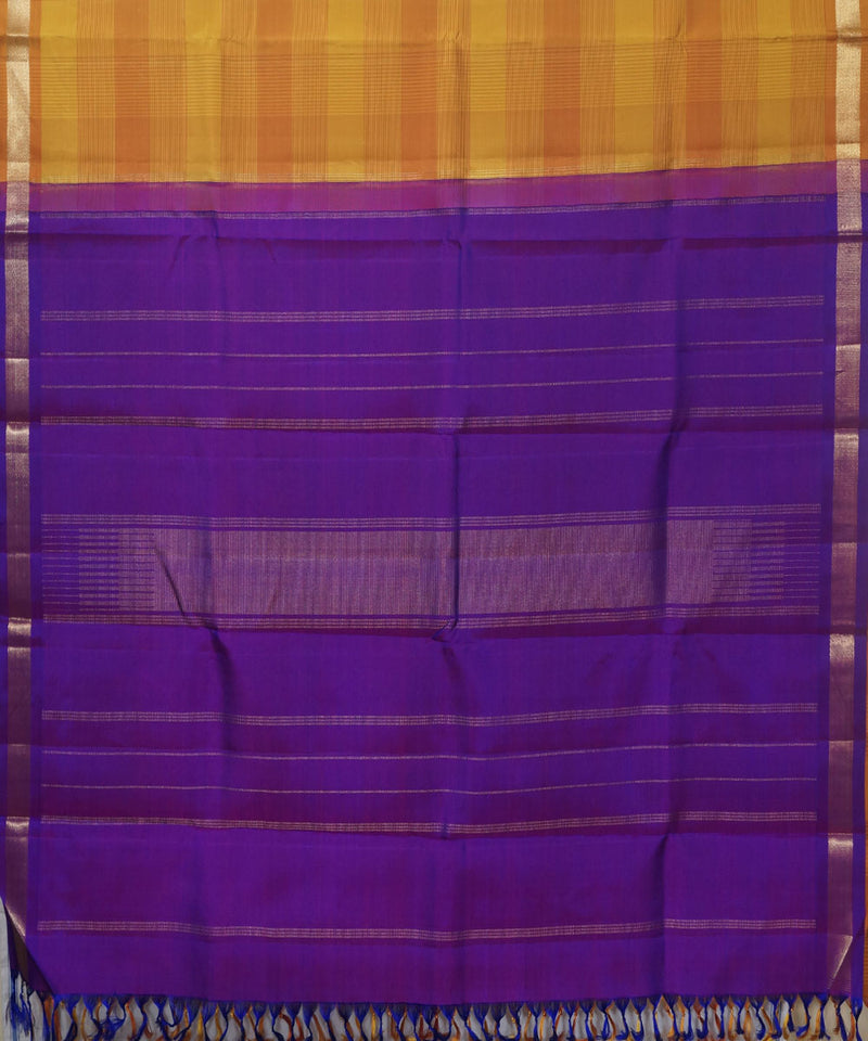 Kanchi Handwoven Yellow Orange Silk Saree