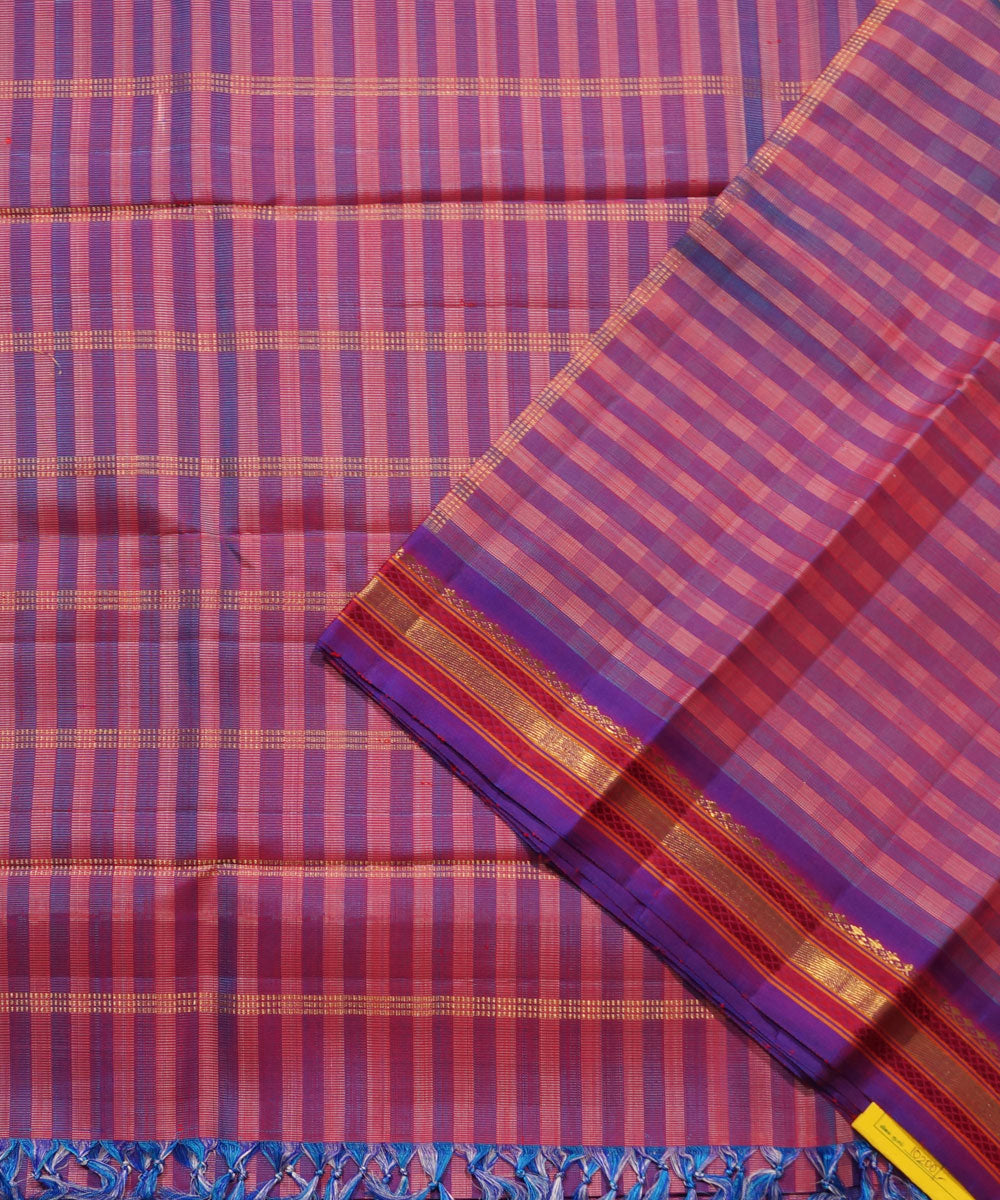 Kanchi Handloom Blue Peach Stripe Silk Saree