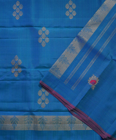 Handwoven Sky Blue Kanchi Silk Saree