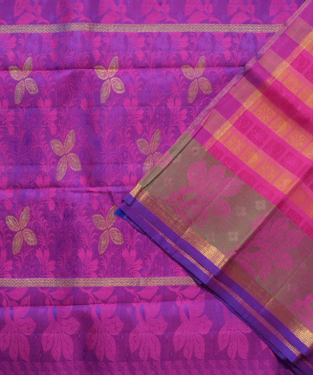 Kanchi Handloom Pink Yellow Stripe Silk Saree