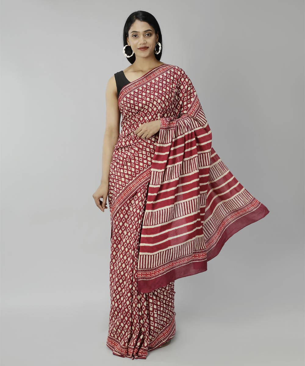 Maroon bagru handblock printed cotton saree