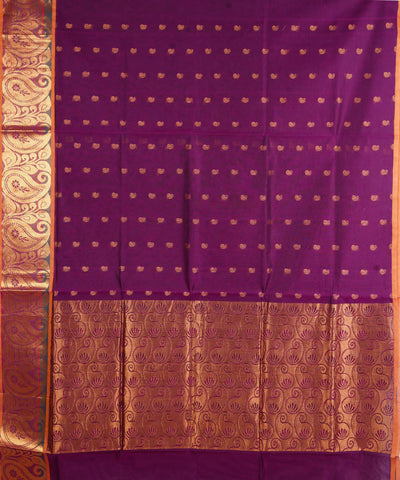 Venkatagiri Handloom Violet Cotton Saree