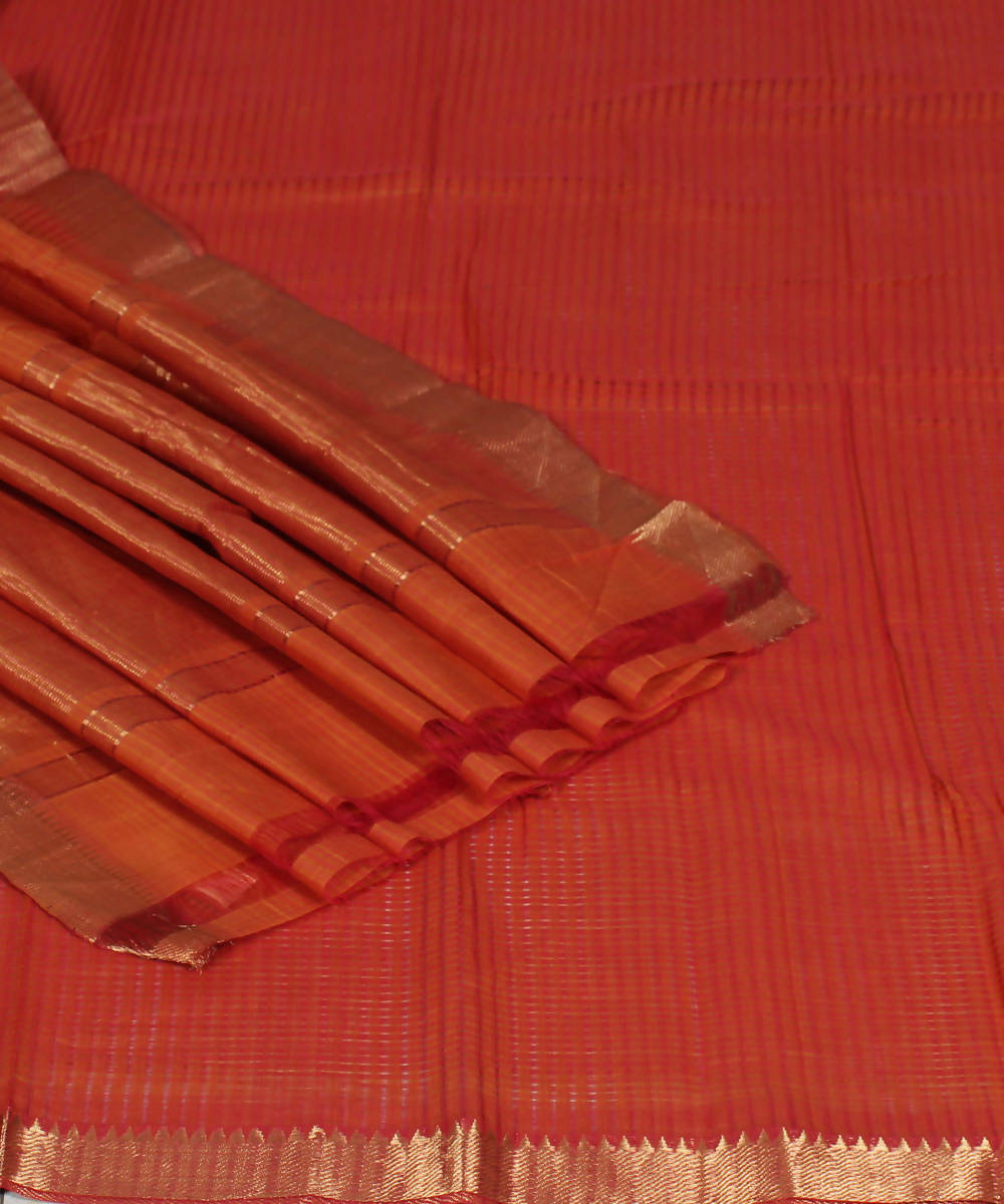Handloom Orange Mangalgiri Cotton Saree