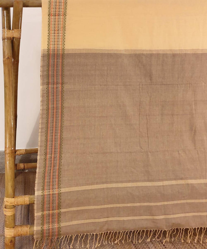 Beige brown assam handwoven cotton saree