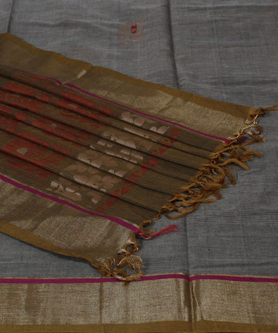 Handwoven Grey Kerala Cotton Saree