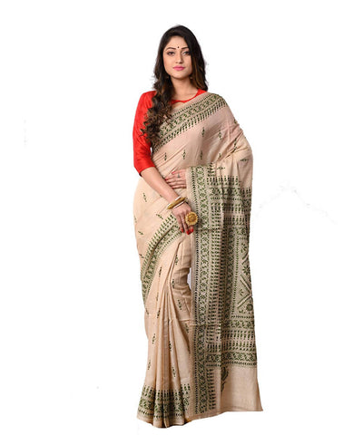 Bengal Beige Green Kantha Stitch Saree