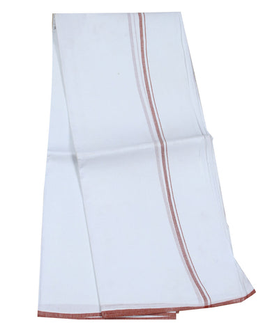 Khadi Nation Handwoven White and Red Cotton Dhoti