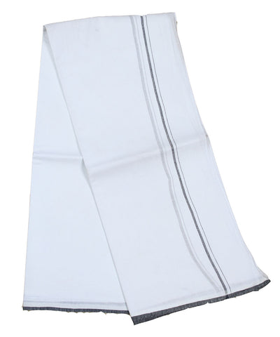 Khadi Nation Handwoven White and Black Cotton Dhoti