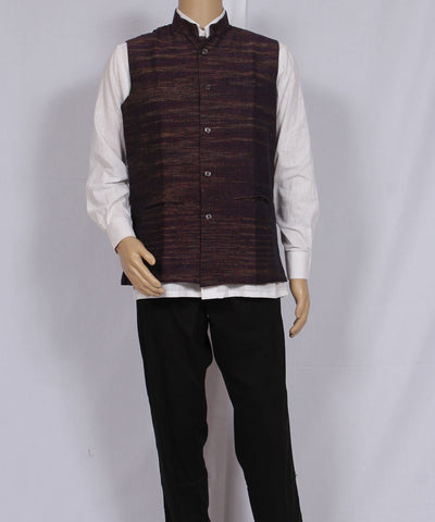 Khadi Nation Purple and Brown Handwoven Khadi Waist Coat