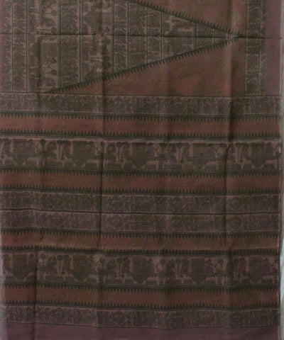 Khadi Nation Handwoven Multi Colour Printed Tussar Silk Saree(KHADI-TSS-206)