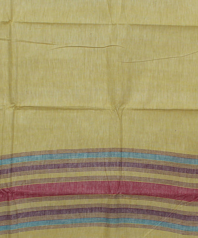 Light Yellow Handwoven Cotton Khadi Saree