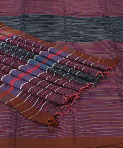 Handloom Dark Mauve Stripe Cotton Khadi Saree