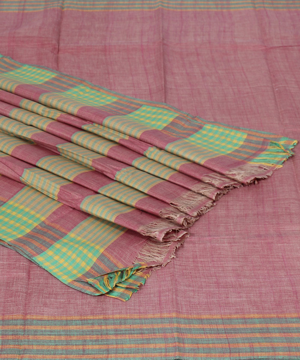 Light Mauve Handloom Cotton Khadi Saree