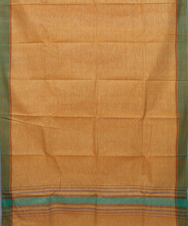 Khadi Light Orange Handwoven Cotton Saree